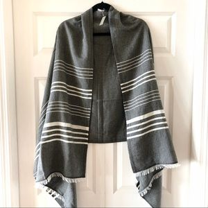 J. Crew new gray and white striped scarf/shawl